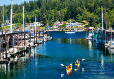 Marina Kayaks Reflection Gig Harbor Washington Royalty Free Stock Photo