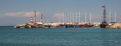 Marina in Kemer, Turkey. Royalty Free Stock Photo