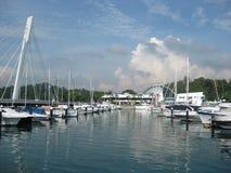 Marina at Keppel Bay. Yachts docking at the Keppel Marina Royalty Free Stock Photo