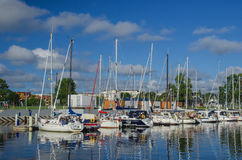 MARINA IN KOLOBRZEG. Yachts moored to the Wharves in Salt in Kolobrzeg Stock Images