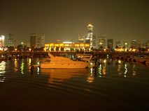 Marina in Kuwait city. Night panorama of Kuwait city from marina Royalty Free Stock Images