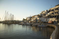 Marina of Kythnos, is a Greek island. KYTHNOS, GREECE - APR 30, 2014: Marina of Kythnos, is a Greek island 100 km2 in area and has a coastline of about 100 km royalty free stock photography