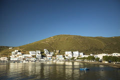 Marina of Kythnos, is a Greek island . It has more than 70 beaches, many of which are still inaccessible by road. KYTHNOS, GREECE - APR 30, 2014: Marina of stock photography