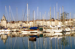 Marina at La Rochelle, France. Seaport of La Rochelle, France with city in background Royalty Free Stock Photo