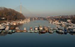 Marina lake Belgrade. A marina (from Spanish, Portuguese and Italian marina, coast or shore) is a dock or basin with moorings and supplies for yachts and small Royalty Free Stock Photo