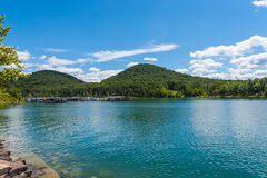 Marina on lake Cave Run in Kentucku, USA Royalty Free Stock Photos