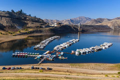 Marina on lake with low water level in California Royalty Free Stock Images