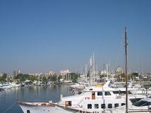 Marina in Larnaca, Cyprus. Marina in Cyprus city Larnaca in clear summer day Stock Photo
