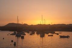 Marina Las Galletas bei Sonnenuntergang Stockfotografie