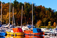 Marina in the late autumn Stock Photo
