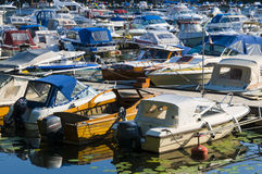 Marina with leisureboats Stockholm Royalty Free Stock Image