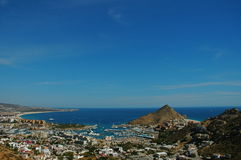 Marina Los Cabos View from Pedregal. View of the tip of the Baja California peninsular from top Pedregal. Los Cabos Mexico royalty free stock photos