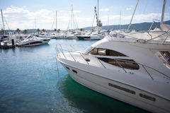 Marina with luxury boats Royalty Free Stock Photo