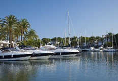 Marina, Majorca. Motor yachts and sailboats docked in marina Royalty Free Stock Photography