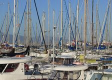 Marina. Many yachts lying at dock. Cagliari, Italy Royalty Free Stock Images
