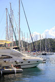 Marina masts, Skiathos town, Greece. Stock Images