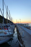 Marina on the Mediterranean coast, sunset Royalty Free Stock Photo