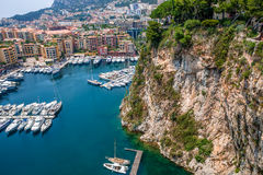 Marina and modern buildings in Monaco. Stock Photo