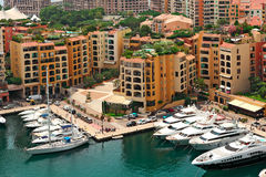 Marina and modern buildings in Monte Carlo, Monaco. Royalty Free Stock Photography
