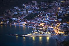Marina of Monemvasia at night time in Greece. Travel. Royalty Free Stock Images
