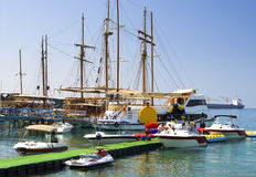 Marina with moored yachts, Eilat, Israel Stock Photos