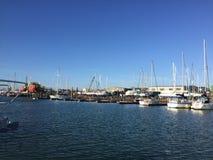 Marina morning sunshine. Sunny day on water Royalty Free Stock Image