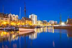 Marina at Motlawa river in Gdansk at night Royalty Free Stock Photos