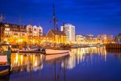 Marina at Motlawa river in Gdansk. At night, Poland Royalty Free Stock Photo