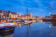 Marina at Motlawa river in old town of Gdansk Royalty Free Stock Images