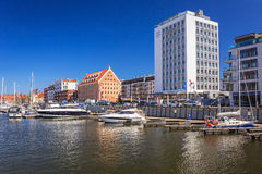 Marina at Motlawa river in old town of Gdansk Stock Photo