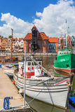 Marina at Motlawa river in old town of Gdansk Stock Photos