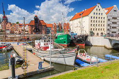 Marina at Motlawa river in old town of Gdansk Royalty Free Stock Photography