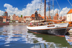 Marina at Motlawa river in old town of Gdansk Royalty Free Stock Photos