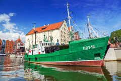 Marina at Motlawa river in old town of Gdansk Stock Images