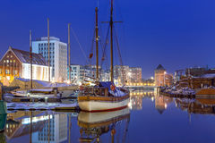 Marina at Motlawa riverin Gdansk Royalty Free Stock Photography