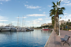 Marina with motorboats in Alicante Stock Photography