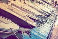 Marina Motorboats For Sale stockfotografie