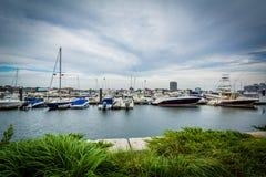 Marina na Charles rzece w Charlestown, Boston, Massachuset Zdjęcie Stock