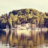 Marina na Macha ` s jeziorze przy zmierzchem podczas sommer wakacji w republika czech Obraz Stock