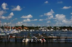 Marina at Naples Bay. Boats and yachts at Naples Bay marina Stock Image