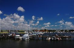Marina at Naples Bay. Boats and yachts at Naples Bay marina Royalty Free Stock Photo