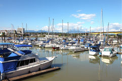 Marina near the Oak street bridge. Royalty Free Stock Image