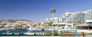 Marina near resort hotels in Eilat, Israel Royalty Free Stock Image