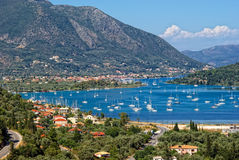 Marina in Nidri, Lefkada Island, Greece. Nidri harbor in the background mountains, the island of Lefkada, Greece stock image