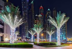 Marina night Dubai. Dubai famous Marina buildings skyscrapers in night palm Royalty Free Stock Photography