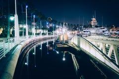 A marina at night, in Long Beach  Royalty Free Stock Image