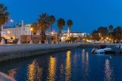 Marina night scene in Faro Portugal royalty free stock photography