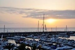 Marina oceanem przy zmierzchem Fotografia Royalty Free