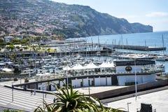 Marina och den upptagna porten i Funchal Madiera Royaltyfria Bilder