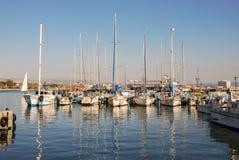 Marina- och fiskeporten av tunnlandet, Israel arkivfoto